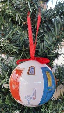 Kerstbal Griekse Deur (plastic)