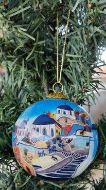 Kerstbal Kerkjes (glas)