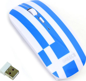 Wireless Computer Mouse Greek Flag
