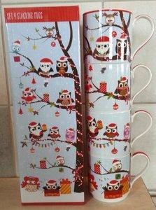 Set van 4 Kerstmokken Uil